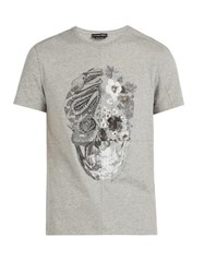 Alexander Mcqueen Patchwork Skull Print Cotton T Shirt Grey