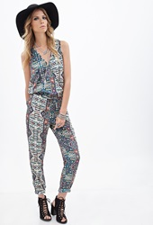 Forever 21 Tribal Print Surplice Jumpsuit Green Multi