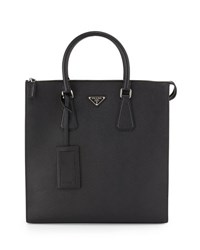 Prada Saffiano Leather Zip Top Tote Bag Black