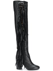 Laurence Dacade Almond Toe Fringe Boots Black
