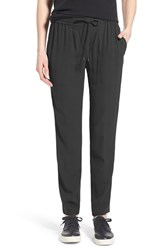 Women's Eileen Fisher Silk Crepe Drawstring Waist Ankle Pants Black
