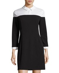 1.State Two Tone Collared Shirtdress Black