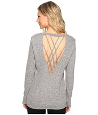 Lanston Back Strap Pullover Heather Women's Clothing Gray