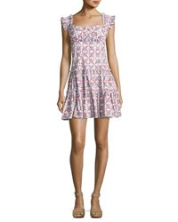 Caroline Constas Maria Square Neck Tiered Mini Dress Pink