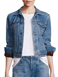 Helmut Lang Flannel Inserts Denim Jacket Light Blue