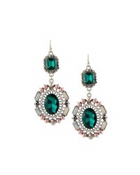 Lydell Nyc Statement Crystal Double Drop Earrings Green