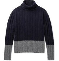 Massimo Piombo Colour Block Ribbed Wool Rollneck Sweater Blue