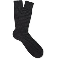 Pantherella Laburnum Ribbed Merino Wool Blend Socks Gray
