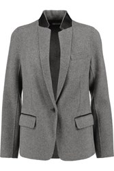 Vince Leather Trimmed Wool Blend Felt Blazer Charcoal