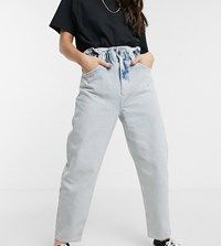 Reclaimed Vintage Inspired The '96 Mom Jean With Gathered High Waist In Blue Acid Wash
