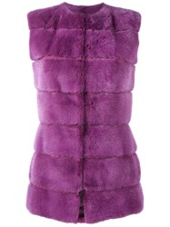 Liska Mink Fur Gilet Pink And Purple
