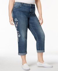 Style And Co Plus Size Spring Blooms Embroidered Boyfriend Fit Cropped Jeans Created For Macy's Brisk Wash