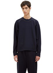Marni Contrast Stitched Crew Neck Sweater Navy