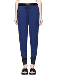 3.1 Phillip Lim Silk Trim Floral Damask Jogging Pants Blue