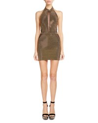 Balmain Studded Illusion Halter Dress Black Gold Black Gold