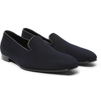 Anderson And Sheppard George Cleverley Leather Trimmed Cashmere Slippers Midnight Blue