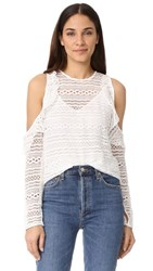 Line And Dot Daiguiri Cold Shoulder Top White
