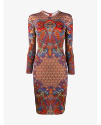 Givenchy Paisley Print Long Sleeve Dress Red Multi Coloured