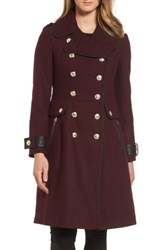 Guess Women's Wool Blend Military Coat Rum Raisin