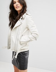 Mango Leather Look Biker Jacket With Buckle Detail White