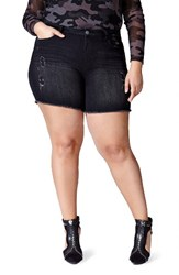 Mblm By Tess Holliday Plus Size Women's Holiday Raw Edge Denim Shorts