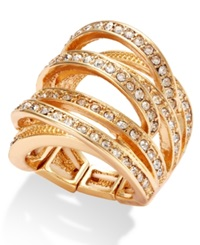 Inc International Concepts Gold Tone Crystal Crisscross Adjustable Ring