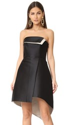 Halston Heritage Strapless Structure Dress Black Champagne