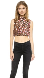 Red Valentino Pop Leopard Print Crop Top Cocoa