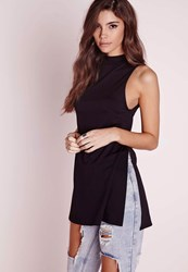 Missguided High Neck Split Side Crepe Tunic Top Black