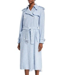 Michael Kors Button Front Tweed Trench Coat Blue Pattern