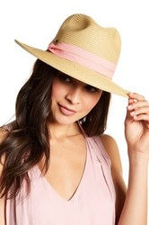 C.C Cheveux Banded Trim Straw Hat Pink