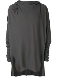 Lost And Found Rooms Draped Longsleeved T Shirt Cotton Linen Flax Grey