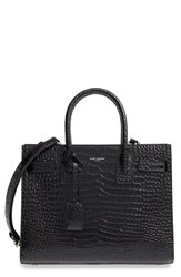 Saint Laurent Sac De Jour Croc Embossed Calfskin Leather Tote Black Nero Nero