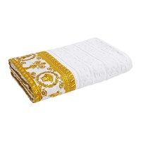 Versace Barocco And Robe Beach Towel White Gold