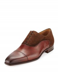 Magnanni Leather And Suede Cap Toe Oxford Brown