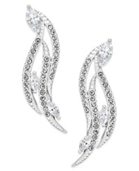 Eliot Danori Silver Tone Curved Crystal Drop Earrings