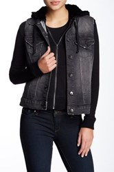 Tractr Jeans Fleece Lined Hooded Vest Jacket Black
