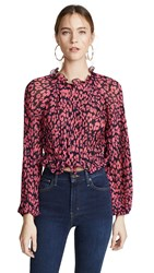 C Meo Collective So Settled Top Hot Pink Abstract Floral
