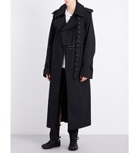 Craig Green Lace Up Detail Cotton Trench Coat Black