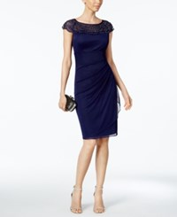 Msk Beaded Ruched Sheath Dress Midnight