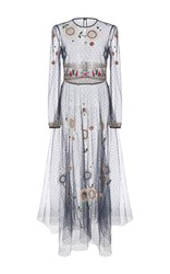 Red Valentino Beaded Floral Long Sleeve Dress Navy