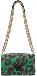 Versace Green And Brown Camouflage Large Medusa Bag