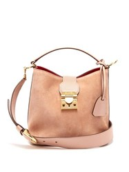 Mark Cross Murphy Gold Plated Small Suede Bucket Bag Beige