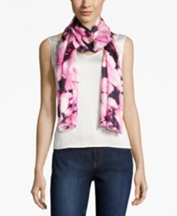 Calvin Klein Garden Rose Silk Oblong Scarf Winter Rose