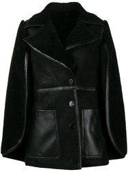 Neil Barrett Shearling Cape Coat Black