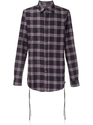 Amiri Lace Detail Plaid Shirt Black