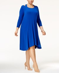 Alfani Plus Size Cutout Fit And Flare Dress Only At Macy's Modern Blue