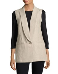 Michael Kors One Button Linen Vest Hemp