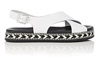Barneys New York Crisscross Strap Leather Espadrille Sandals White