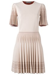 Alexander Mcqueen Pleated Knit Dress Pink And Purple